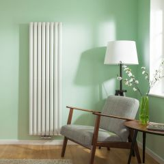 "Revive Centrix - White Vertical Double-Panel Designer Radiator - 63"" x 18.5"""