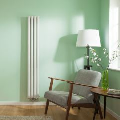 "Revive Centrix - White Vertical Double-Panel Designer Radiator - 63"" x 9.25"""