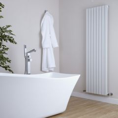 "Sloane - White Vertical Single Flat-Panel Designer Radiator - 63"" x 18.5"""