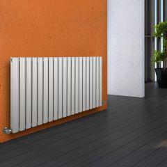 "Revive - White Horizontal Double-Panel Designer Radiator - 25"" x 46.5"""