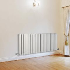 "Revive - White Horizontal Double-Panel Designer Radiator - 25"" x 55.5"""
