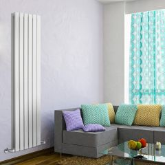 "Delta - White Vertical Double Slim-Panel Designer Radiator - 63"" x 16.5"""