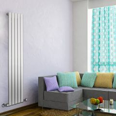 "Delta - White Vertical Single Slim-Panel Designer Radiator - 63"" x 13.75"""