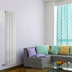 "Delta - White Vertical Single Slim-Panel Designer Radiator - 63"" x 16.5"""