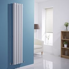 "Edifice - White Vertical Double-Panel Designer Radiator - 63"" x 11"""