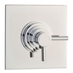 Modern Concealed Thermostatic Shower Faucet Dual Control- Square - Chrome Plated Brass