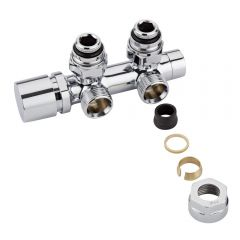Hudson Reed Chrome Manual Angled H-Block Radiator Valve