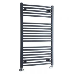 """Loa - Hydronic Anthracite Curved Heated Towel Warmer - 39.25"""" x 23.5"""""""