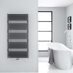 "Arch - Anthracite Hydronic Heated Towel Warmer - 50"" x 23.5"""