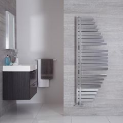 "Lazio - Chrome Hydronic Designer Towel Warmer - 57.5"" x 21.5"""