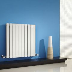 "Sloane - White Horizontal Double Flat-Panel Designer Radiator - 25"" x 23.5"""