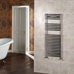 "Ischia - Hydronic Chrome Heated Towel Warmer - 45.25"" x 17.75"""