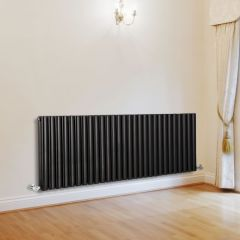 "Revive - Black Horizontal Double-Panel Designer Radiator - 25"" x 64.75"""
