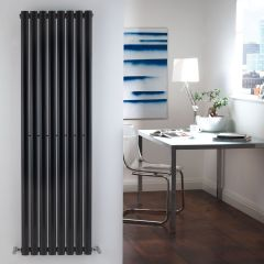 "Revive - Black Vertical Single-Panel Designer Radiator - 63"" x 18.5"""