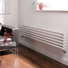 "Revive - White Horizontal Double-Panel Designer Radiator - 14"" x 63"""