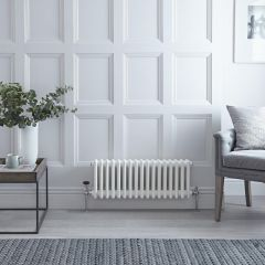 "Regent - White Horizontal 3-Column Traditional Cast-Iron Style Radiator - 11.75"" x 31"""