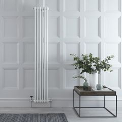 "Regent - White Vertical 2-Column Traditional Cast-Iron Style Radiator - 70.75"" x 11.5"""