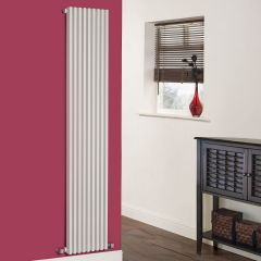 "Fin - White Vertical Single-Panel Designer Radiator - 70"" x 13.5"""