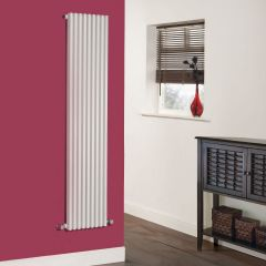 "Fin - White Vertical Single-Panel Designer Radiator - 63"" x 13.5"""