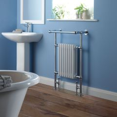 "Marquis - Traditional Hydronic Heated Towel Warmer with Shelf - 36.625"" x 24.375"""
