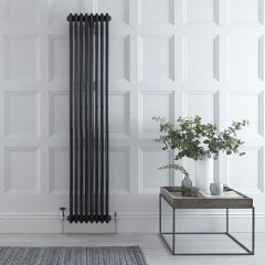 "Regent - Black Vertical 3-Column Traditional Cast-Iron Style Radiator - 70.75"" x 15"""