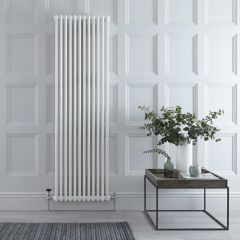 "Regent - White Vertical 3-Column Traditional Cast-Iron Style Radiator - 70.75"" x 22.25"""