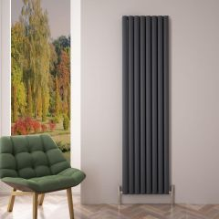 "Revive Air - Anthracite Aluminum Vertical Double-Panel Designer Radiator - 70.75"" x 18.5"""