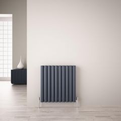 "Revive Air - Anthracite Aluminum Horizontal Double-Panel Designer Radiator - 23.5"" x 23.25"""