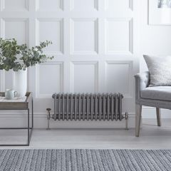 Regent - Raw Metal Lacquered Horizontal 3-Column Traditional Cast-Iron Style Radiator - 11.75'' x 30.25''