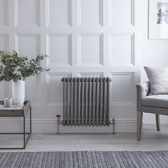 Regent - Raw Metal Lacquered Horizontal 3-Column Traditional Cast-Iron Style Radiator - 23.5'' x 24''