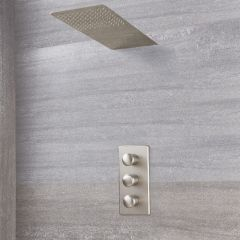Eclipse Thermostatic Brushed Nickel Shower System with Waterfall Shower Head