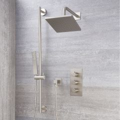 "Arcadia Thermostatic Brushed Nickel Shower System with 8"" Shower Head and Slide Rail Kit"