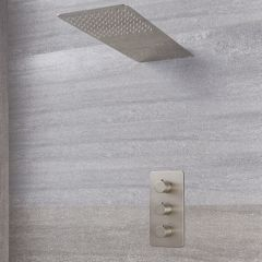 Arcadia Thermostatic Brushed Nickel Shower System with Waterfall Shower Head