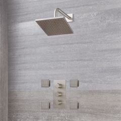 "Arcadia Thermostatic Brushed Nickel Shower System with 8"" Shower Head and 4 Body Sprays"