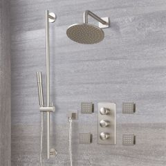 "Eclipse Thermostatic Brushed Nickel Shower System with 8"" Shower Head, Slide Rail Kit and 4 Body Sprays"