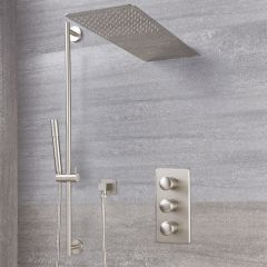 Eclipse Thermostatic Brushed Nickel Shower System with Waterfall Head and Slide Rail Kit