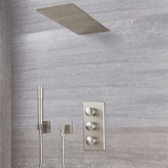 Eclipse Thermostatic Brushed Nickel Shower System with Waterfall Head and Handshower