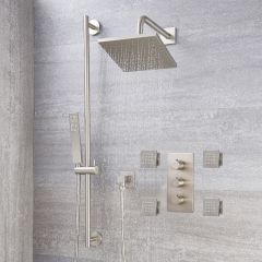 "Arcadia Thermostatic Brushed Nickel Shower System with 8"" Shower Head, Slide Rail Kit and 4 Body Sprays"
