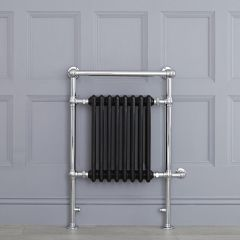 "Marquis Electric  - Black Traditional Heated Towel Warmer with Shelf - 36.75"" x 24.5"""