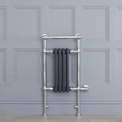 "Marquis Electric  - Anthracite Traditional Heated Towel Warmer with Shelf - 36.75"" x 17.75"""
