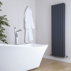 "Sloane - Anthracite Vertical Double Flat-Panel Designer Radiator - 70"" x 18.5"""