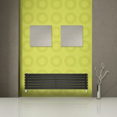 "Revive - Black Horizontal Double-Panel Designer Radiator - 14"" x 70"""