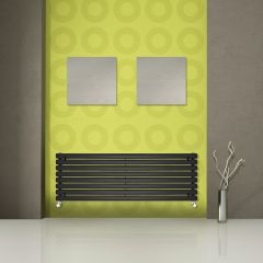 "Revive - Black Horizontal Single-Panel Designer Radiator - 18.5"" x 70"""