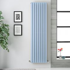 "Sloane - Baby Blue Double Flat Panel Vertical Designer Radiator - 70"" x 18.5"""