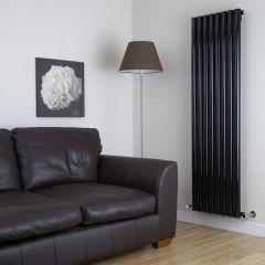 "Savy - Black Vertical Single-Panel Designer Radiator - 70"" x 18.5"""