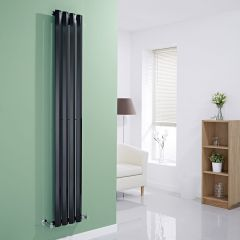 "Edifice - Black Vertical Single-Panel Designer Radiator - 70"" x 11"""