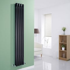 "Edifice - Black Vertical Double-Panel Designer Radiator - 70"" x 11"""