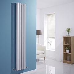 "Edifice - White Vertical Double-Panel Designer Radiator - 70"" x 11"""