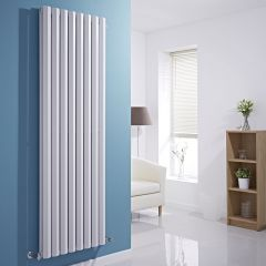 "Edifice - White Vertical Double-Panel Designer Radiator - 70"" x 22"""