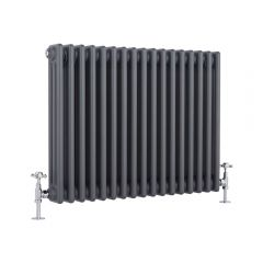 "Regent - Anthracite Horizontal 3-Column Traditional Cast-Iron Style Radiator - 23.5"" x 30"""